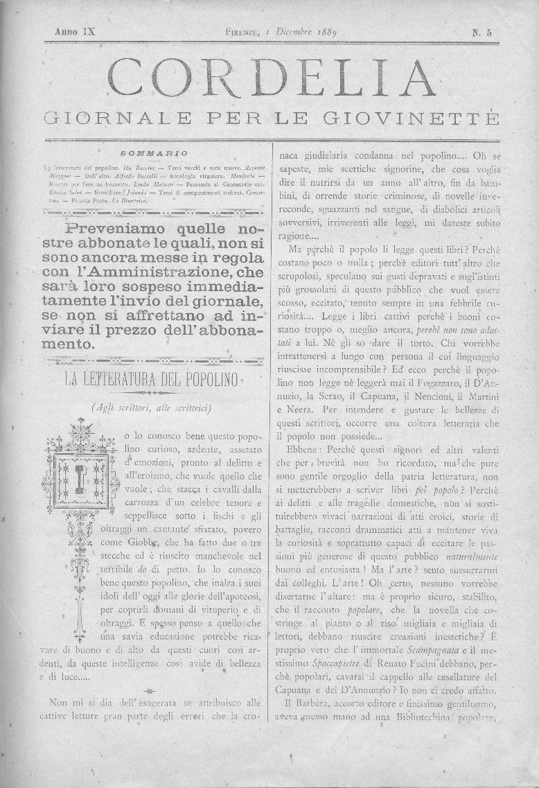 Cordelia. Giornale per le giovinette 1889, n. 5-9
