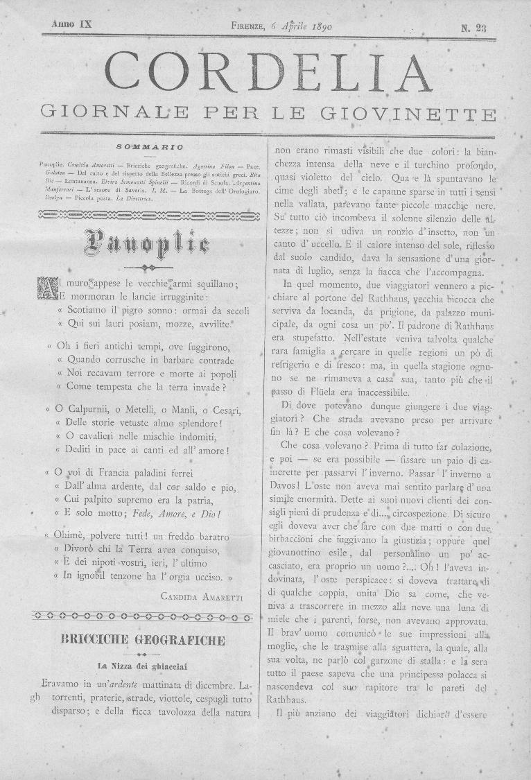 Cordelia. Giornale per le giovinette 1890, n. 23-26