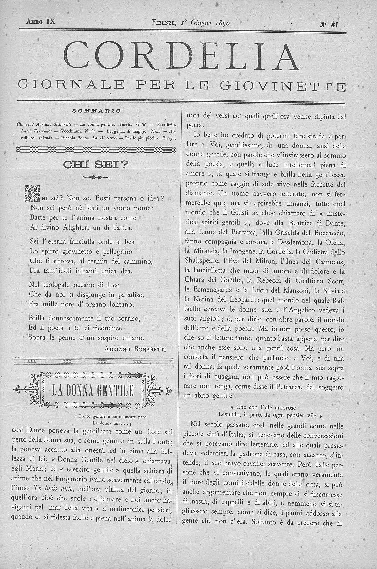 Cordelia. Giornale per le giovinette 1890, n. 31-35