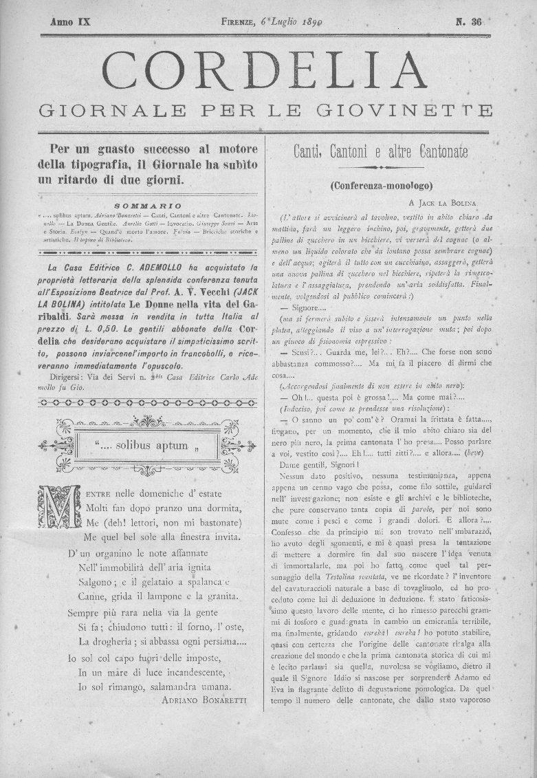 Cordelia. Giornale per le giovinette 1890, n. 36-39