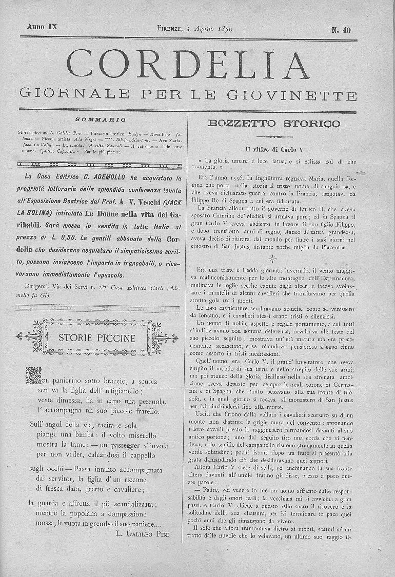 Cordelia. Giornale per le giovinette 1890, n. 40-44