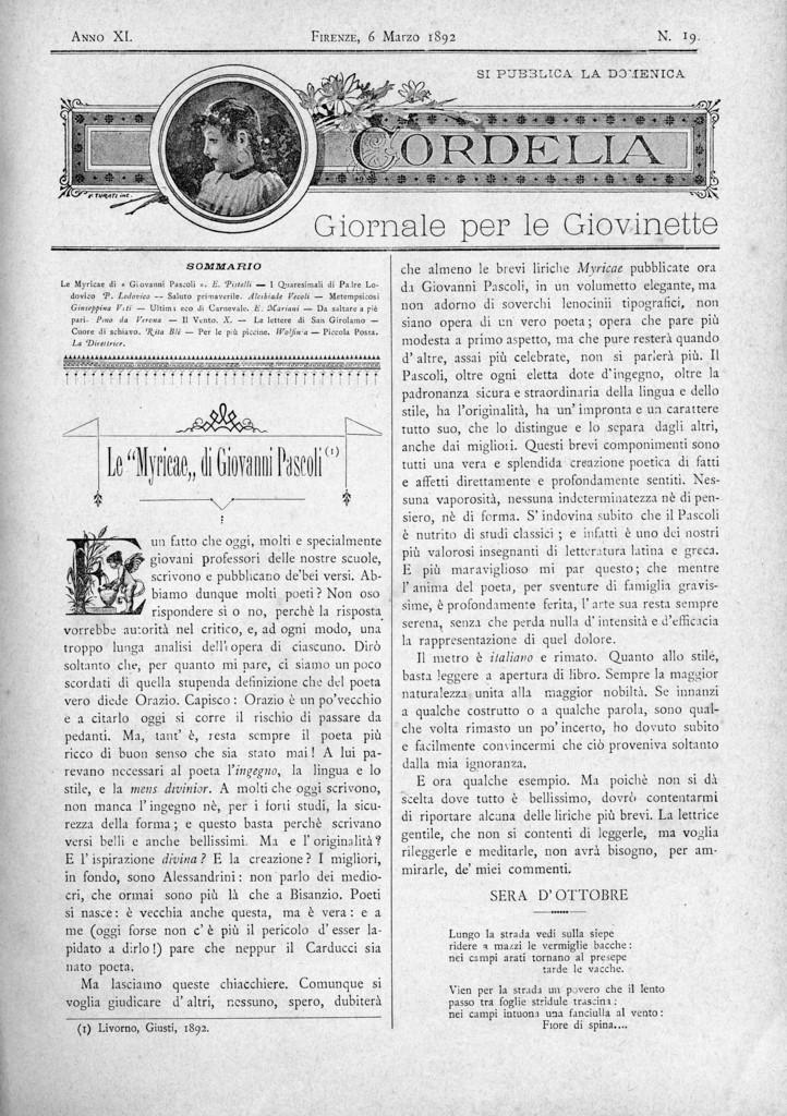 Cordelia. Giornale per le giovinette 1892, n. 19-22