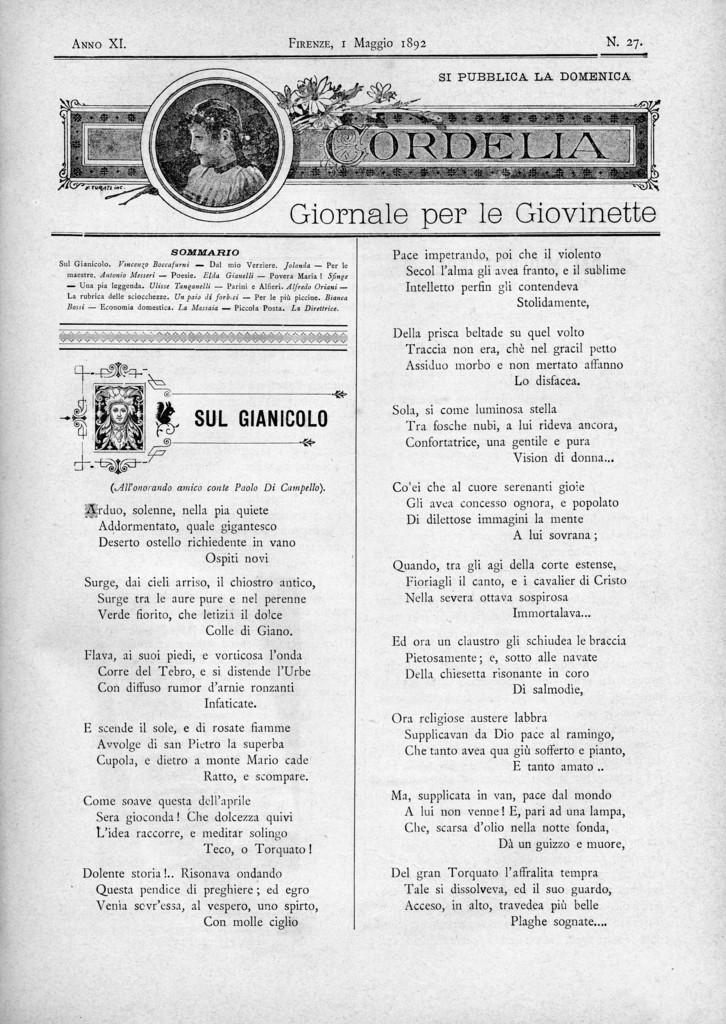 Cordelia. Giornale per le giovinette 1892, n. 27-31