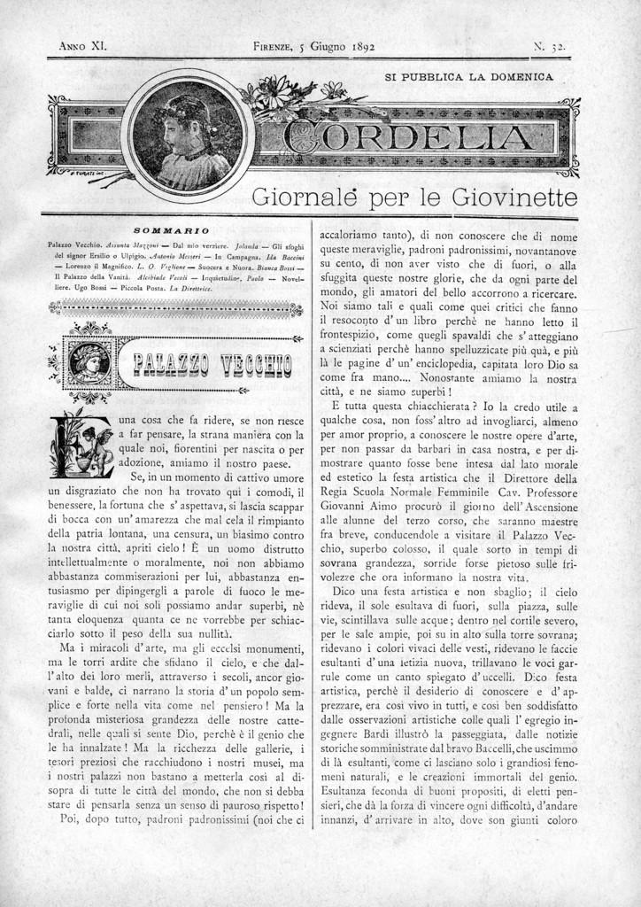 Cordelia. Giornale per le giovinette 1892, n. 32-35