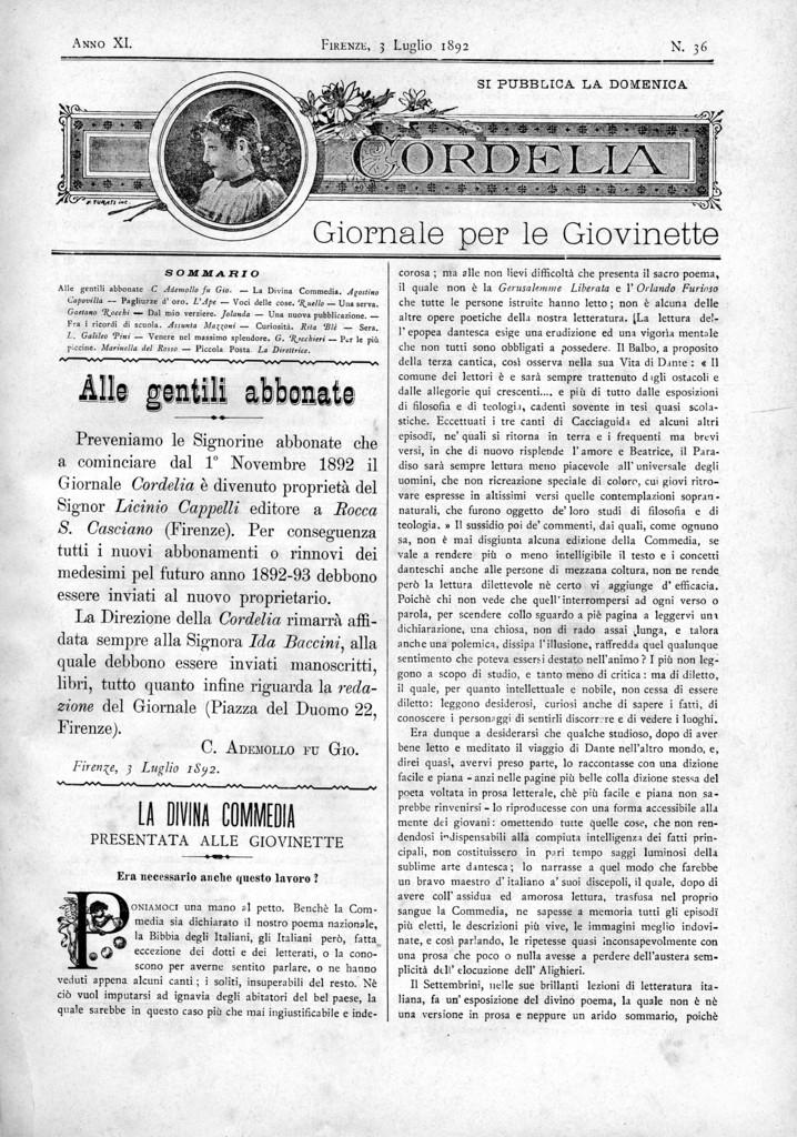 Cordelia. Giornale per le giovinette 1892, n. 36-40