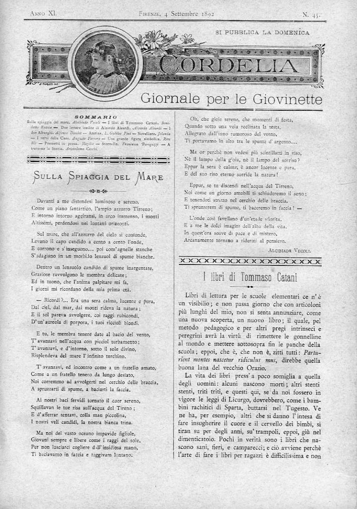 Cordelia. Giornale per le giovinette 1892, n. 45-48