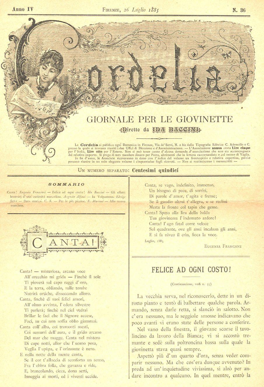 Cordelia. Giornale per le giovinette 1885, n. 36