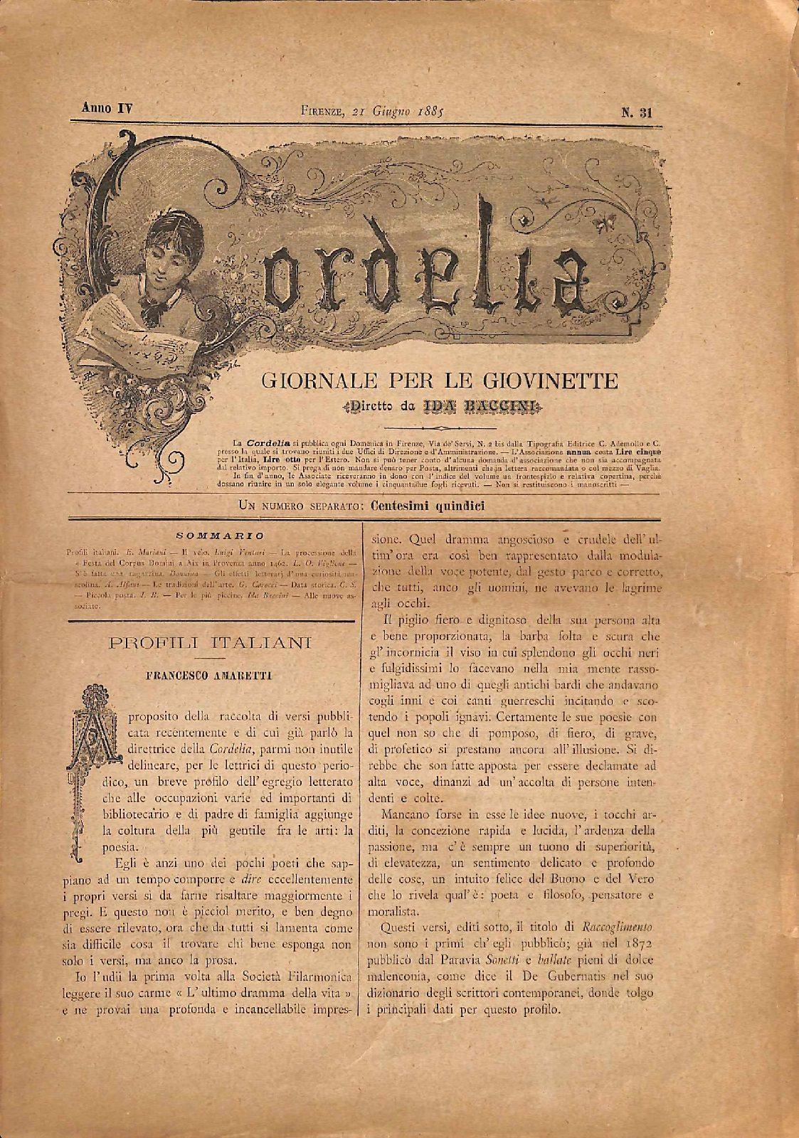 Cordelia. Giornale per le giovinette 1885, n. 31