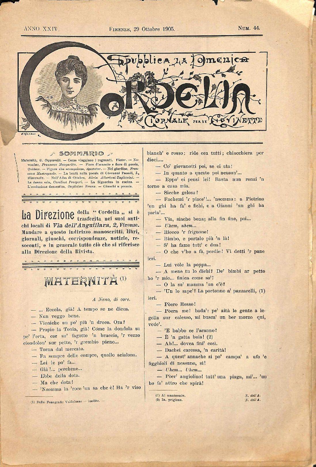 Cordelia. Giornale per le giovinette 1905, n. 44