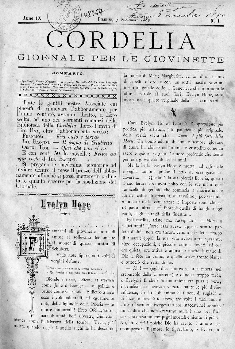 Cordelia. Giornale per le giovinette 1889, n. 1-4
