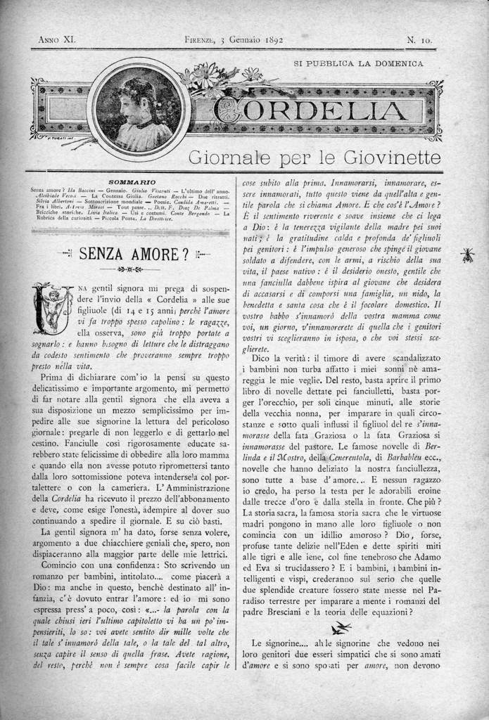 Cordelia. Giornale per le giovinette 1892, n. 10-14