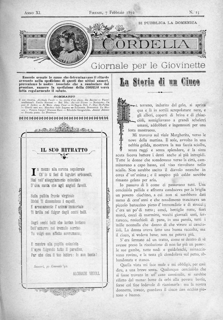 Cordelia. Giornale per le giovinette 1892, n. 15-18